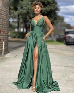 Вечерние платья Green бретельках Side щелевая атласная-Line Пром платья с застежкой-молнией назад vestidos де фиеста де ночь