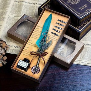 BECODE Mechanical Wing Fountain Pen Student Calligraphy Dip Pens beautiful Color Vintage Feather pen Set office stationery 5 Nib