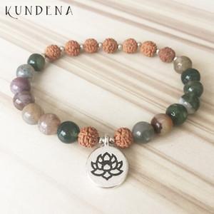 Bouddhiste Rudraksha Bracelet Inde A-porte Mala perles Pour Wrists unisexe Lotus Charm J-OM Asper Bracelet
