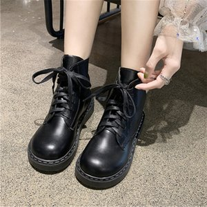 Women Leather Platform Ankle Lace-up Sneakers Ladies Flats Breathable Booties Comfort Female Chunky Shoe Botas Mujer Black White