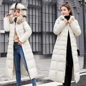 Inverno 2020 Ispessimento Giacca imbottita in cotone caldo in cotone caldo Giacca lunga giacca da donna con cintura e cappotto di parka