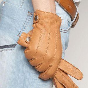 Fingerless Gloves Fashion 2021 Luxury Men Deerskin Button Wrist Solid Genuine Leather Male Winter Driving Glove Em012wr