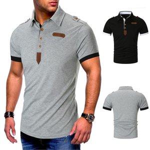 Collar Polo Uomo Estate Mens Polo Designer in pelle con pannelli naturale Polo di colore con il pulsante manica corta casuali Girano-Down