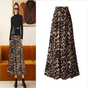 High Waist Skirts Ladies Evening Party Pleated Fashion Female Clothes Sexy Womens Designer Skirt Leopard Print
