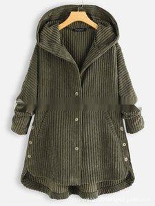 2019 осенью и зимой моды женщин Wick вельвет нерегулярные сплошной цвет 2019 осенью и зимой моды женщин Кнопка Кнопка Coat Wick со