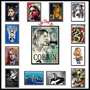 Nirvana Kurt Cobain chanteur Poster musique rock blanc Coated affiches papier Peinture barre murale décorative Peinture Chanteur Poster