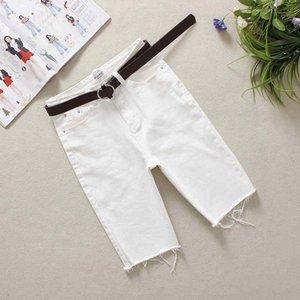 2020 Summer Women's Denim Shorts White Natural Waist S-XL Solid Washed Pockets Button 100% Cotton Mid Straight Shorts 88332