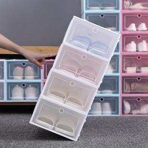 Espesar zapatos de plástico transparente caja de zapatos a prueba de polvo Caja de almacenamiento tirón zapato transparente del color del caramelo cajas apilables zapatos Organizador Caja BH3641 DBC