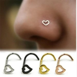 Love Heart Stainless Steel Nose Rings Body Piercing Jewelry Bent Angle Nose Rings Studs Punk Jewelry for Men Women Wholesale