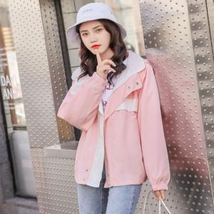 Hot Sale HAYBLST Brand Women Hooded Jacket New 2019 Autumn Fashion Patchwork Windbreaker Plus SizeXL Korean Kawaii Two-Sided Wear Jackets