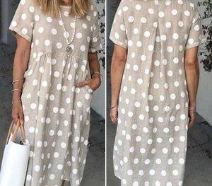 Vicabo bolso vestidos de verão O pescoço Casual solta Vestidos Feminino Big Dot Impresso Vestido Ladies88