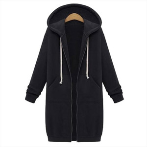 Fashion 2020 Oversized Autumn Women Long Hoodies Solid Zipper Sweatshirt Velvet Hoodies Sweatshirt Female Girls Plus Size 5XL