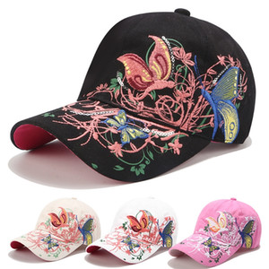 Paillettes ricamati delle donne Cap fiore farfalla anatra ricamata cappello lingua pulsante regolabile fino cappello farfalla cappello del partito T500215 delle donne