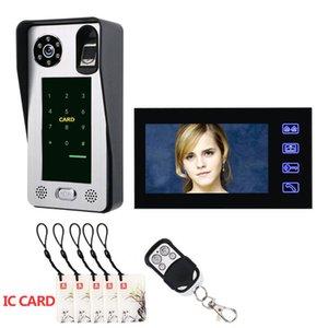 7 pouces Wired vidéophone visuel Vidéo Intercom audio bidirectionnelle Intercom d'empreintes digitales IC avec caméra d'extérieur IR étanche