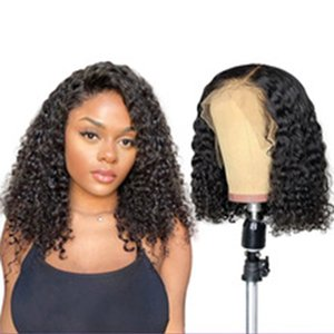 Short Curly Front Wig Human Hair Wig, With Baby Hair Brazilian Remy Hair, Pre-cut Hairline, Deep Wave Wig