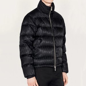 20FW Europea jacquard chaqueta abajo logotipo completo de impresión caliente abajo cubren Calle Outwear pares de la manera de las mujeres para hombre de las chaquetas HFXHYRF032