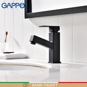 GAPPO Basin Faucets Pull out Brass sink faucet Black bathroom faucet waterfall bathroom mixer tap torneira griferia