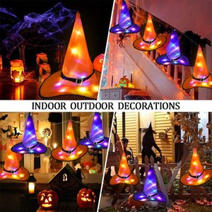 Halloween Decorations Witch Hat with LED Light Glowing Witches Hat Hanging Halloween Decor Suspension Tree Glowing Hat for Kids GWA1387