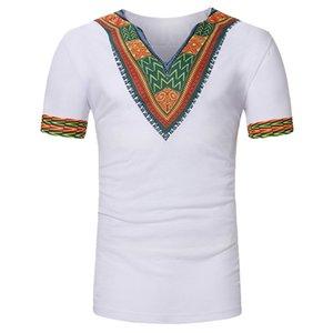 Шаблон печати Мужчины футболку Лето Африканский стиль Vintage TeeTops V образным вырезом с коротким рукавом футболки Homme Casual Tee