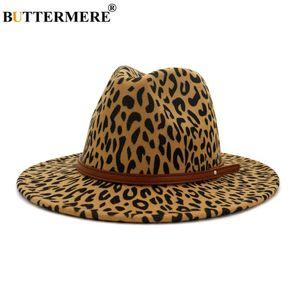 BUTTERMERE Leopard lana di jazz cappelli di Fedora di cuoio casuale Cintura donna cappello di feltro delle signore Panama Trilby femminile festa Cap Sombrero