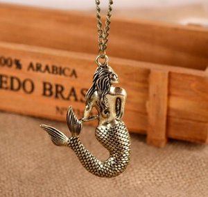 Retro mermaid necklace spring and autumn long sweater chain women necklace GD702