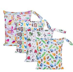 DHL 200pcs reutilizable impermeable imprime Moda seco mojado bolsa de pañales de tela de bolsillo doble manija Wetbags 30 * los 36CM SN2685