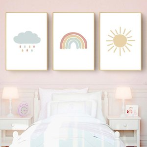 Nordic Baby Picture Art Neutral Sun Quarto Arte decorativa Rainbow Recados Cloud Print Nursery Canvas Sunrise Pintura Poster Poster yxltj