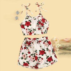 robe femme 2PCS Fashion vestidos verWomen Casual Suit Floral Print Frill Camis Top Vest Tie Shorts Set summer clothes for women