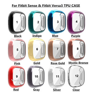Soft Tpu Case for Fitbit Sense  for Fitbit Versa 3 Band Waterproof Watch Shell Cover Screen Protector Protective Bumper Factory Direct