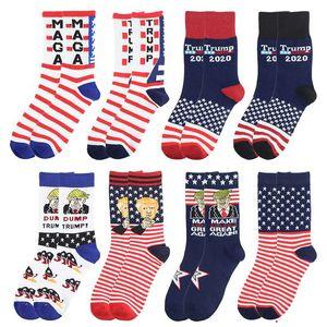 Women Men's Unisex High-Heeled Cotton Socks Trump Personalized Letters Casual Sports Socks American Flag Striped Socks gift GWE1695