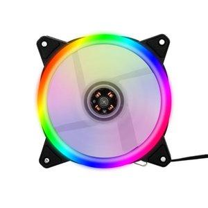 비 조정 다채로운 빛으로 냉각 5 팬 컴퓨터 라디에이터 RGB 팬 12cm RGB 케이스 냉각 케이스 쿨러 음소거