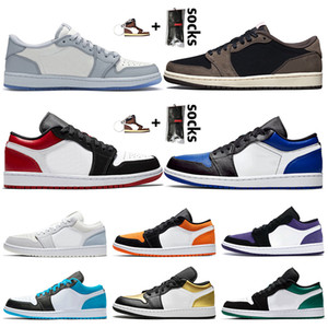 schuhe nike air jordan 1 low off white travis scott 1 1s Damen Herren Jumpman 1 Basketballschuhe schwarzer Zeh OG Königsblau UNC Paris Designer Trainer Sport Turnschuhe