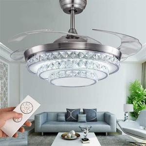42 Inch Invisiable Crystal Ceiling Fan Light Modern Luxury Dining Room Ceiling Fan Lamp 4 Blade Remote Control Ventilador