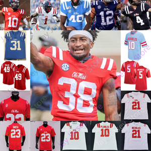 Custom Ole Miss Rebels Fußball Jersey NCAA College John Rhys Plumlee Matt Corral Scottie Phillips Snoop Conner Elijah Moore Rot Baby Blau
