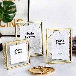 Nordic Gold Metal Glass Photo Frame Portrait Holder Golden Wedding Geometric Bracket Black Pictures Frames Decoration Ornament