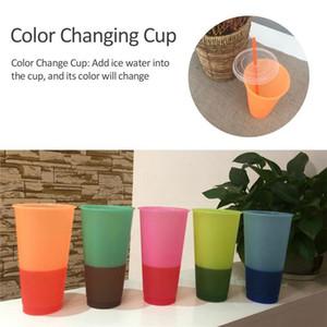 Riutilizzabili di plastica Temperatura colore Cambiare Spedizione Coppa Con Paglia Eco-Friendly Magic Glass Ice Water colore gradiente Coppe Mare