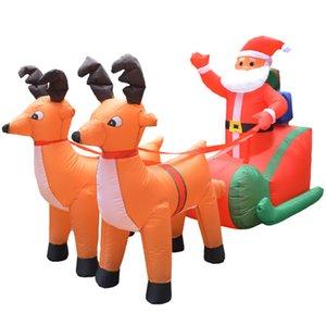 EU Plug de Noël gonflable de Deer panier Double Christmas Deer Panier Santa Claus Dress Up Décorations Bienvenue Props