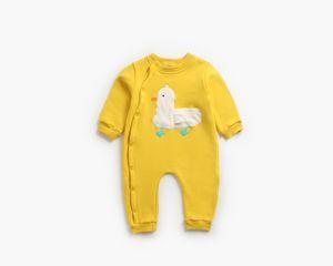 Kids Autumn Winter Warm bodysuit Baby Boys Girls 0-2T Cotton Fleece Long Sleeve Chicken applique Romper