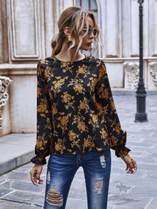 2020 Nouveau automne Designer Femmes ras du cou en mousseline de soie imprimé floral T-shirt Automne Femmes Petal à manches longues en tricot Top Chemisier Sweats T-shirts