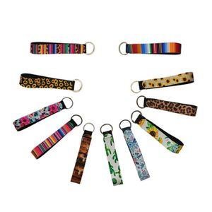 Неопрен Ремешки брелка красочный печататься ключ запястья ремня подсолнечник полоса леопард талрепа ключей длиной ныряльщики Keychains HHC2103