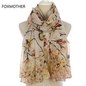 FOXMOTHER neue Art und Weise Frauen-Winter-grauer Himmel Blauer Vogel auf Ästen langer Schal Damen