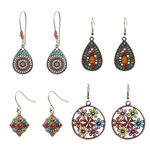 10pcs lot Women Fashion Geometric Earrings Bohemian Electroplating Dangle Earrings Retro Flower Earring for Travel Party Gatherings