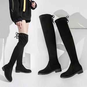 2020 jusqu'aux genoux élastiques extensibles extensible à long élastique célébrité Internet de nouvelles bottes longues bottes 5050 de velours de mouton de couleur 3 jours solide pour les femmes XZ