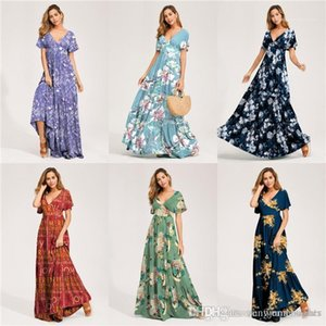 Sexy Style Female Clothing V Neck Womens Summer Maxi Dresses Short Floral Print Beach Holidday Designer
