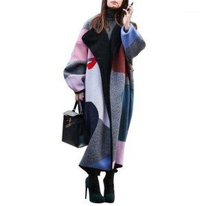 Geometrik Desen Gevşek Giyim Kış Yaka Yaka Uzun Kollu Dış Giyim Blend Moda Patchwork Coats Kadın Designer Blend