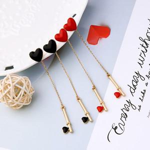 kissme المتأنق BlackRed المينا ليتل القلب أقراط إسقاط مفتاح للنساء هدايا لون الذهب سلسلة طويلة تعلق أقراط ملحقات