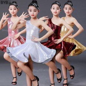 Robe latine cosplay costume pour les filles de bébé scène Performance Ballroom Dance Porter une épaule Lumière satin concurrence 2pcs Set