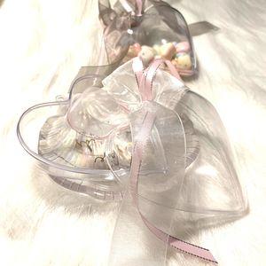 10 pcs lot wedding candy box Creative Transparent heart box with ribbon handbag party Birthday gift boxes Events Supplies