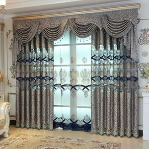 거실 바닥 자카드 바느질 블루 공작 놓은 얇은 커튼을위한 유럽 고급 수용성 커튼