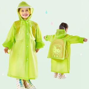 Fashion School Bag Hooded Raincoat EVA Raincoats Children Poncho Kids Rainwear Travel Rain Coat 5 Colors Waterproof Rain Wear DH0737